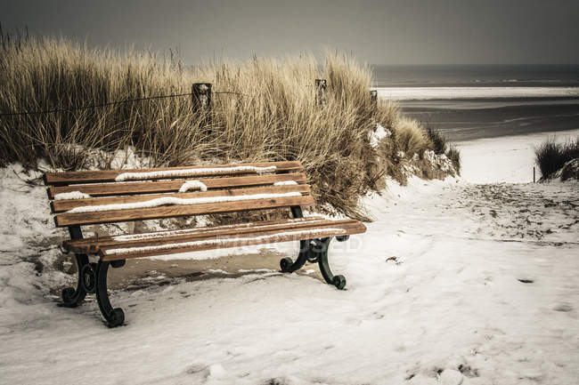 Germany, Lower Saxony, bench at the beach of Langeoog — Stock Photo