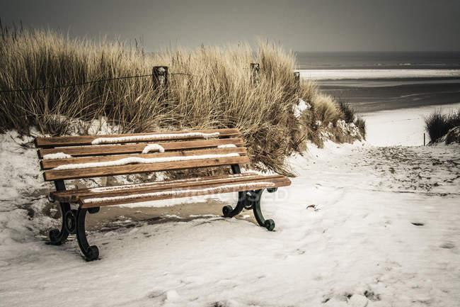 Banco de Alemanha, Baixa Saxónia, na praia de Langeoog — Fotografia de Stock