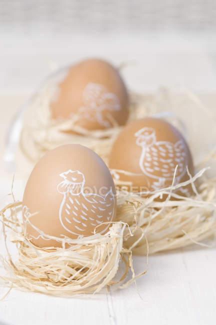 Ninho de ovos de Páscoa pintado em palha close-up — Fotografia de Stock