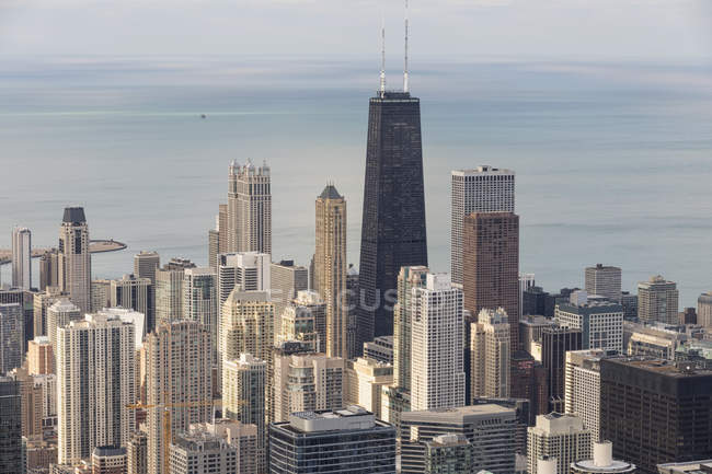 Blick vom willis tower (ehemaliger Sears Tower) auf Chicago, Michigansee, Chicago, illinois, United States, USA — Stockfoto