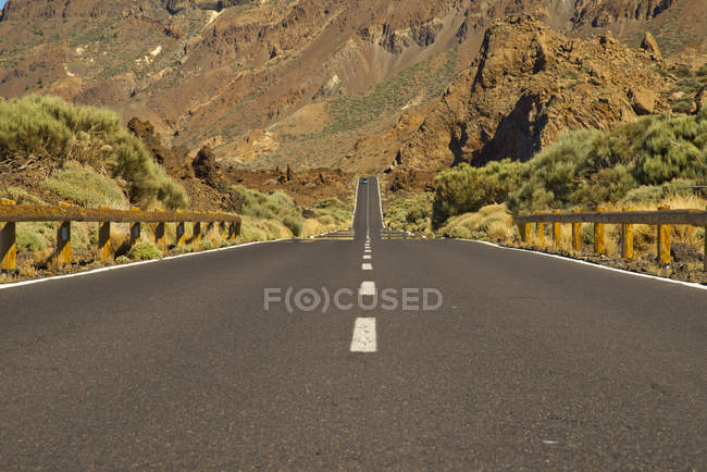 Spain, Canary Islands, Tenerife, Teide National Park and road between mountans — Stock Photo