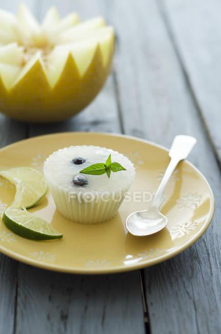 Melão com sorvete de frutas no prato, close-up — Fotografia de Stock