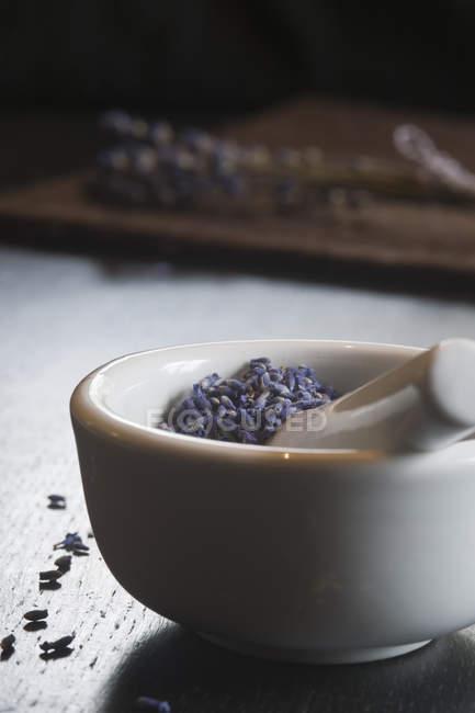 Lavanda em uma exibição de closeup de argamassa — Fotografia de Stock