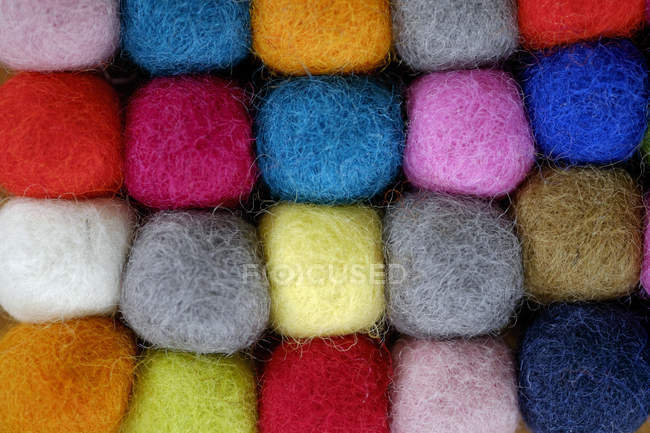 Close up of Colourful balls of wool — Stock Photo