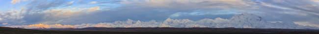 Monte Mckinley e Cordilheira do Alasca no Parque Nacional Denali, Alasca, Estados Unidos da América — Fotografia de Stock