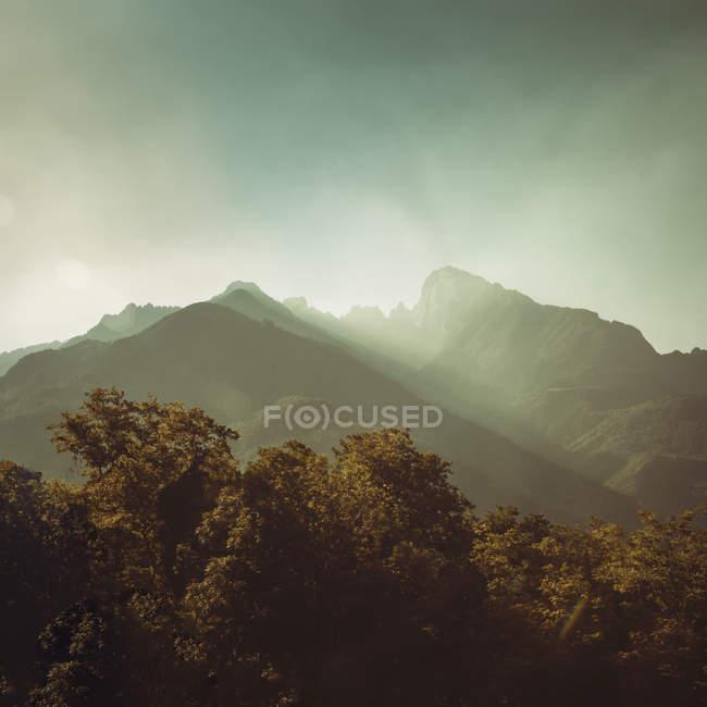 Італія, Spluga, Схід сонця в Альпах і вид з вершини — стокове фото