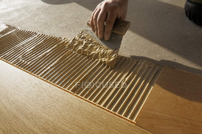 Man applying glue for laying finished parquet flooring, close-up — Stock Photo