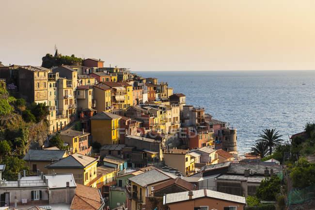 Italia, Liguria, Cinque Terre, Veduta del borgo di pescatori di Manarola — Foto stock