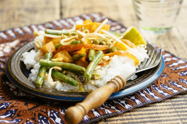 Thai-Kürbis-Curry mit grünen Bohnen und Sprossen, Reis — Stockfoto