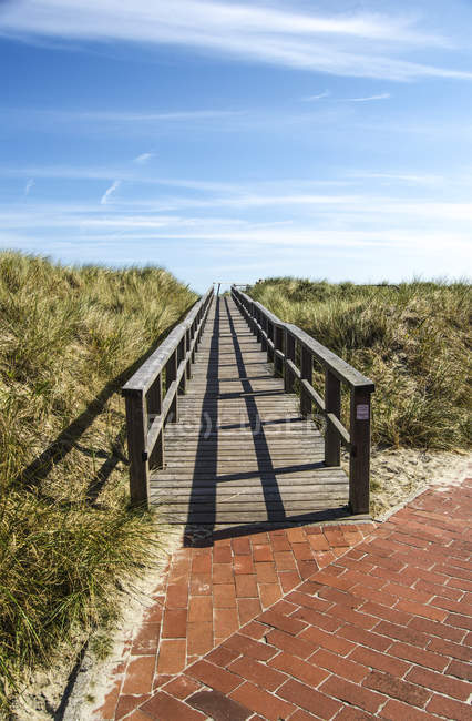 Germany, Lower Saxony, East Frisian Island, Juist, Wooden boardwalk and Dunes on background — Stock Photo