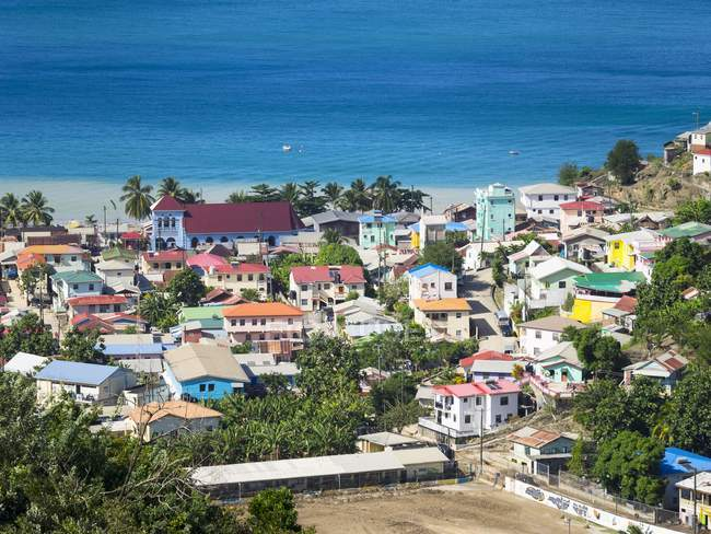 Caribbean, Saint Lucia, Aerial view of Canaries with church St. Anthony — Stock Photo