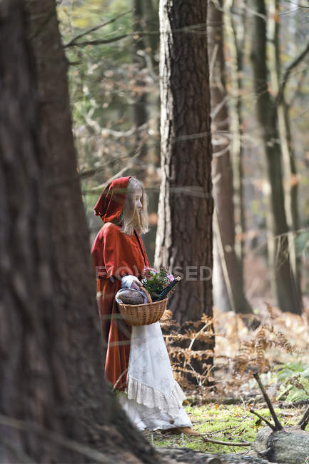 Girl masquerade as Red Riding Hood standing in the wood — Stock Photo