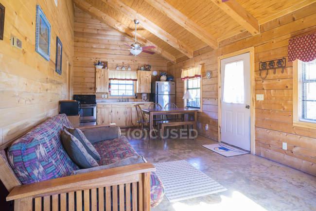 США, Texas, rustic log house, interior — стоковое фото