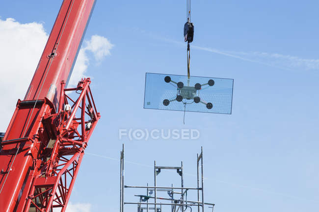 Germany, Cologne, crane with glass pane — Stock Photo