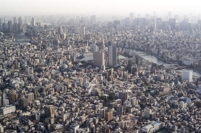 Vue aérienne vers rivière Asakusa et Sumida, Tokyo, Japon — Photo de stock