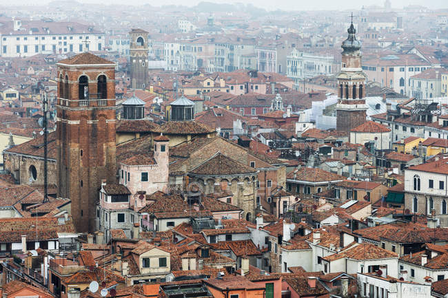 Italy, Venice, View from Campanile on house roofs — Stock Photo