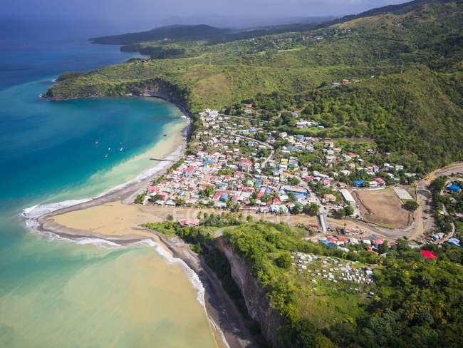 Caribbean, Antilles, Lesser Antilles, Saint Lucia, Aerial photo of village Canaries — Stock Photo