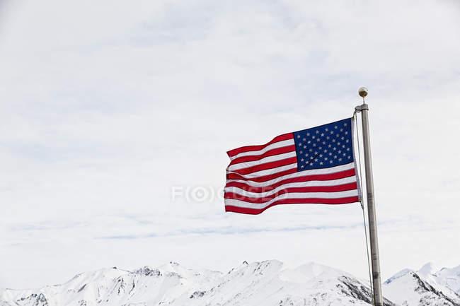 USA, Alaska, Flagge vor Alaska Range im Denali National Park — Stockfoto