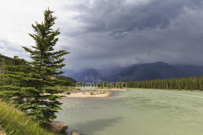 Canada, Alberta, Parco nazionale di Jasper, fiume di Athabasca davanti alle montagne rocciose — Foto stock