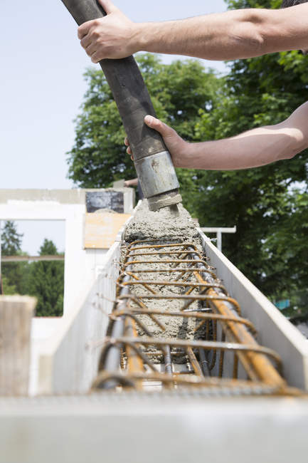 Construction of a residential house, casting of the ring beam — Stock Photo