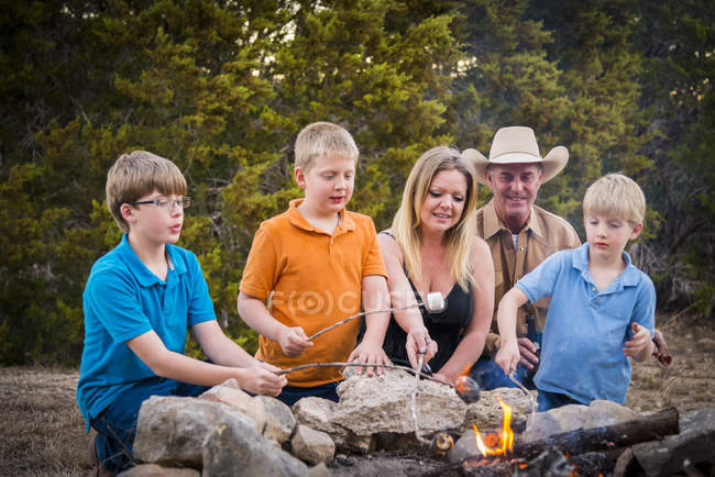 Family Roasting Marshmallows Over Camp Fire Stock Photo