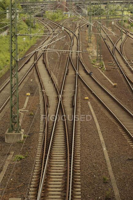 Germany, Berlin, Prenzlauer Berg, train and metro rails — Stock Photo