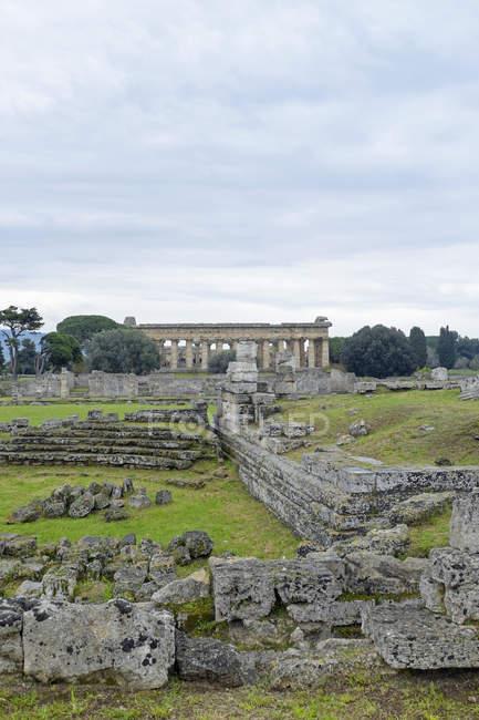 Italy, Campania, Paestum, Agora, meeting place and view to basilica — Stock Photo