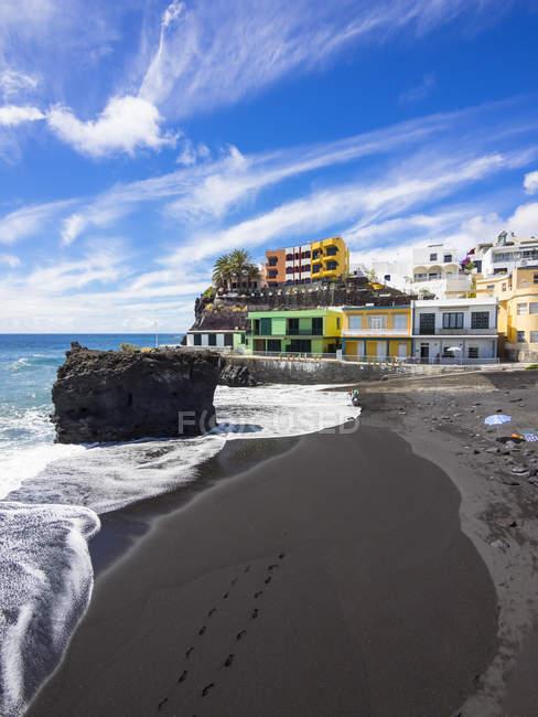 Іспанія, Канарські острови, Ла-Пальма, Puerto Naos, чорний лаві пля — стокове фото