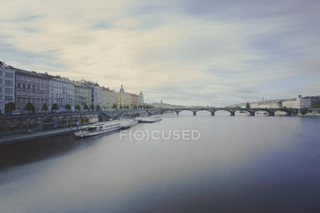 Czechia, Prague, View of river and bridge on background during daytime — Stock Photo
