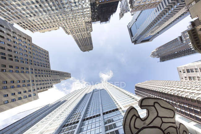 USA, New York City, Manhattan, Financial District, view from below — Stock Photo
