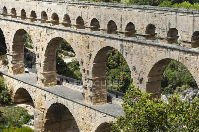 France, Languedoc Roussillon, Gard, view to Pont du Gard — Stock Photo
