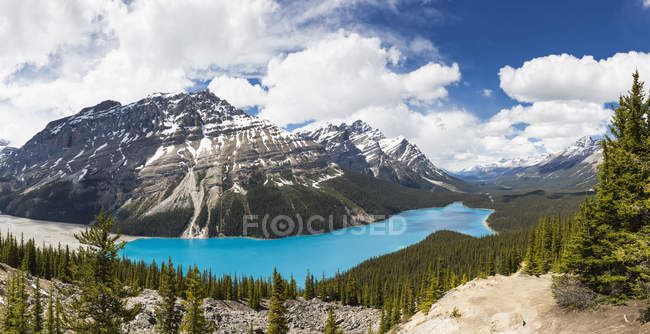 Canadá, Alberta, montanhas rochosas, Parque Nacional Jasper, Parque Nacional de Banff, Peyto Lake — Fotografia de Stock