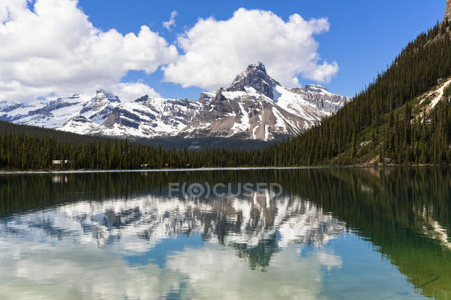 Canada, British Columbia, Yoho Nationalpark, Lake O'Hara and mountains over lake water during daytime — Stock Photo