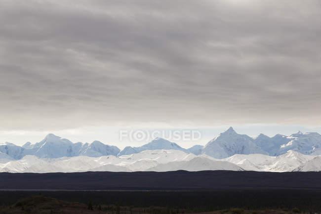 Chaîne de l'Alaska dans le Parc National Denali, avec un ciel nuageux, Alaska, Usa — Photo de stock
