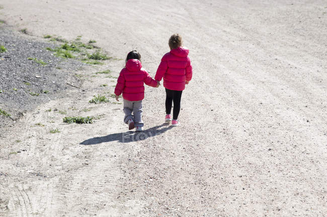 Two little sisters walking hand in hand — Stock Photo