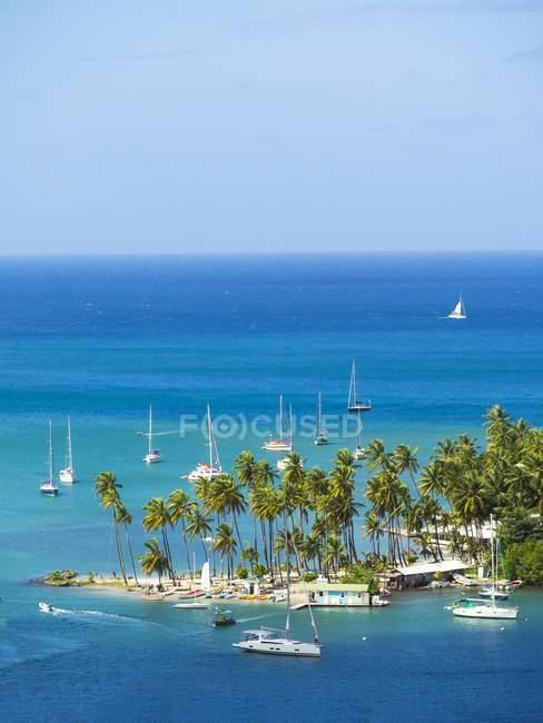 Caribbean, Lesser Antilles, Sainte-Lucie, Castries, baie de Marigot et yachts — Photo de stock