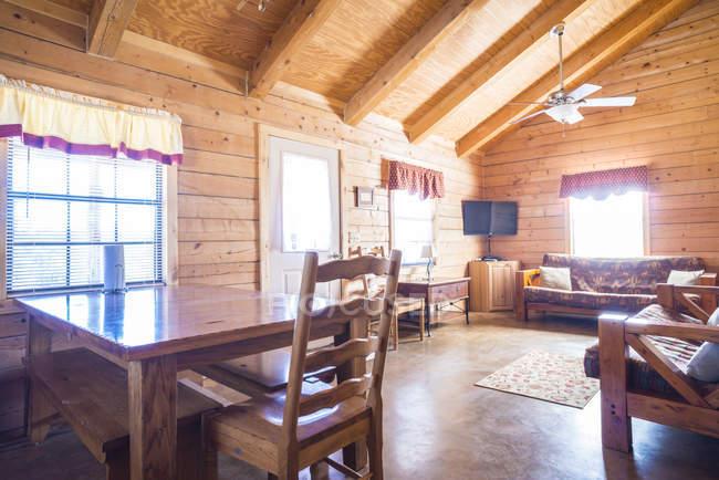 USA, Texas, rustic log house, living room, interior — Stock Photo