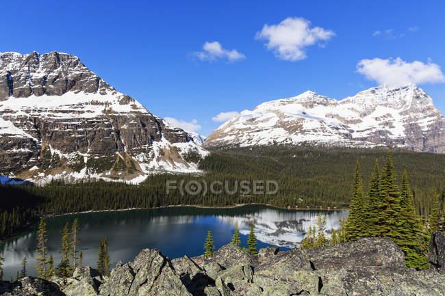 Vista del lago O 'Hara con montañas y árboles bajo el cielo azul nublado en el Parque Nacional Yoho, Columbia Británica, Canadá , - foto de stock