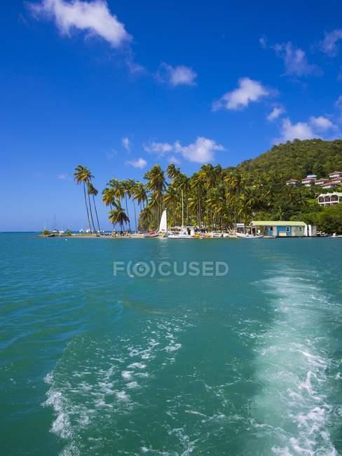 Caraïbes, Sainte-Lucie, Marigot Bay, vue sur la plage de l'océan — Photo de stock