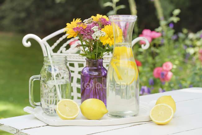 Agua de limón infundido y limones frescos en la mesa de jardín de verano - foto de stock