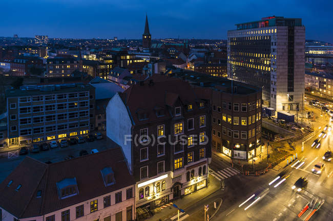 Denmark, Aarhus, view to city center at blue hour, view from above — Stock Photo