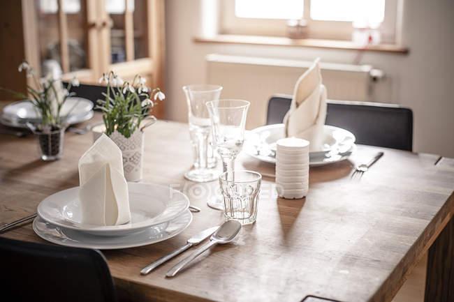 Германия, Вайхинген, Накрытый стол в помещении — стоковое фото