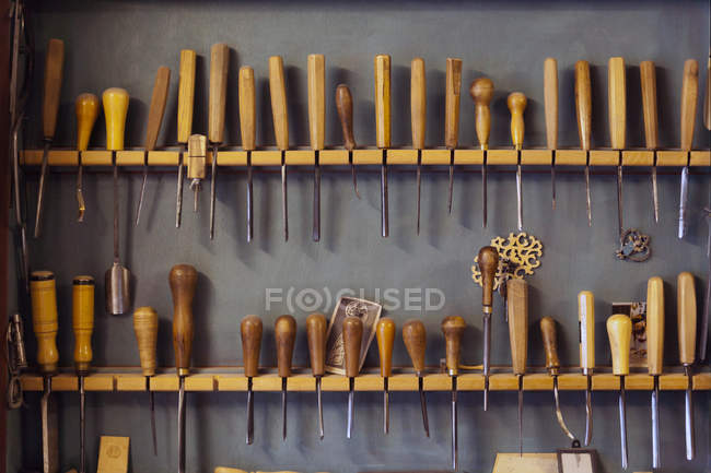Assortment of chisels in a volin maker workshop — Stock Photo
