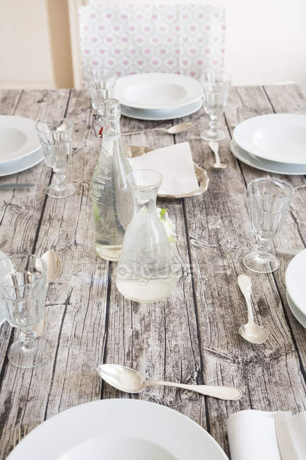 Close-up of Festive laid wooden table — Stock Photo