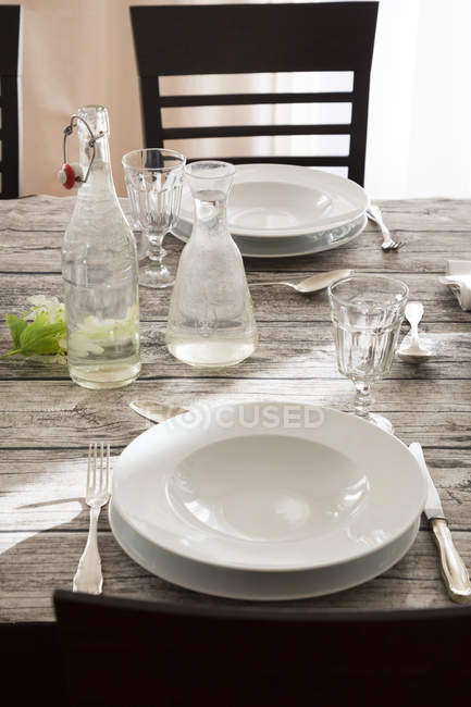Festive laid table, partial view indoors — Stock Photo