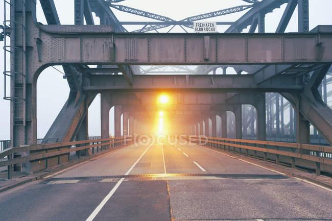 Allemagne, Hambourg pont route dans la brume du matin — Photo de stock