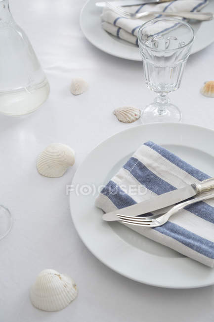 Close-up of Maritime decorated laid table — Stock Photo