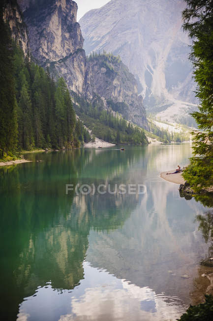 Italy, Trentino-Alto Adige, Alto Adige, Puster Valley, water reflection at Lake Prags — Stock Photo