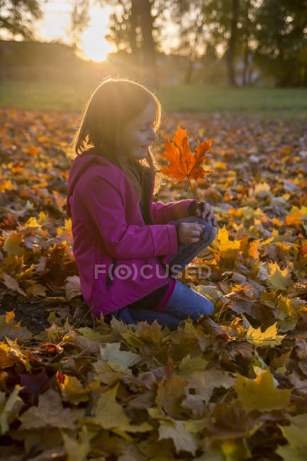 Little girl crouching in between autumn leaves in park — Stock Photo