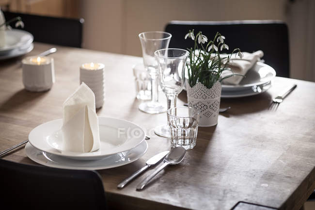 Germany, Vaihingen, Laid table indoors — Stock Photo
